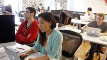 File photo of people taking a coding class at Bitmaker Labs in Toronto. (Fernando Morales/The Globe and Mail)