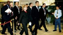 U.S. Secretary of State Hillary Clinton, left, and President Barack Obama walk in the Bella Center in Copenhagen, the venue of the COP15 Climate Summit. (CHRISTIAN ALS/AFP/Getty Images)