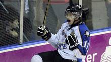 Kootenay Ice forward Matt Fraser celebrates his second goal of the game against the Owen Sound Attack during the third period of their Memorial Cup round-robin ice hockey game in Mississauga May 26, 2011. (MIKE CASSESE/REUTERS)