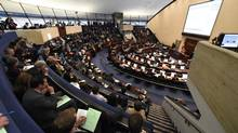Crowds pack the public gallery at council chambers as Toronto council meets to discuss a proposal to expand Billy Bishop City Centre Airport. (Fred Lum/The Globe and Mail)