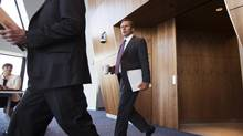 Encana CEO Doug Suttles arrives for a media round table in Calgary, Alberta. (Todd Korol For The Globe and Mail)