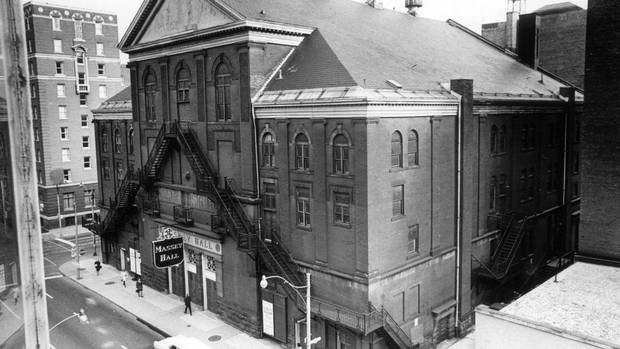 Toronto's Massey Hall, shown in a 1970s photo, is on the cusp of a significant renewal plan. The concert hall, built in 1894 by industrial baron Hart Massey, will get a back-of-the-house building addition that will include basic amenities such as elevators and a loading dock. Dressing rooms, washrooms, catering facilities, office spaces and patron amenities will also be improved. (John McNeill/The Globe and Mail)