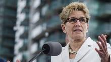Ontario Premier Kathleen Wynne speaks during a news conference in Toronto on April 20, 2017. (Christopher Katsarov/THE CANADIAN PRESS)