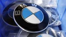 BMW car logos are pictured in a spare part store at a BMW garage in Niderwangen near Bern, on May 24, 2012. (Pascal Lauener/REUTERS)
