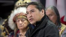 Athabasca Chipewyan First Nation Chief Allan Adam speaks during a news conference on March 20, 2013 in Ottawa. (Adrian Wyld/THE CANADIAN PRESS)