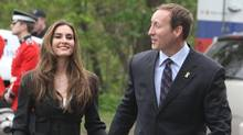 Defence Minister Peter MacKay arrives at Rideua Hall with Nazanin Afshin-Jam. (FRED CHARTRAND/FRED CHARTRAND/THE CANADIAN PRESS)