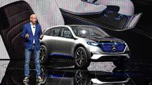 "Mercedes Benz CEO Dieter Zetsche presents the new Mercedes Benz ""Generation EQ"" on the first day of the press days of the Paris motor Show, on September 29, 2016. (MIGUEL MEDINA/AFP/Getty Images)"