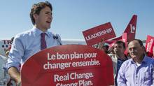 Liberal Leader Justin Trudeau addresses supporters during a campaign stop on Friday, Sept. 18, 2015, in Montreal (Paul Chiasson/The Canadian Press)