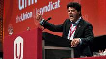 Jerry Dias gives a speech after being declared the first president of the new Unifor union at the Uniforfounding convention in Toronto, Saturday, August 31, 2013. (Galit Rodan/The Canadian Press)