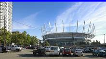 A parking lot adjacent to the redesigned BC Place stadium in Septemebr, 2011. A trio of giant digital signs put up at BC Place have sparked complaints since last fall from dozens of downtown residents. (Jeff Vinnick/ The Globe and Mail/Jeff Vinnick/ The Globe and Mail)