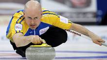 Kevin Koe of Calgary edged Brad Gushue of St. John's 5-4 at the Grand Slam of Curling Canadian Open final on Sunday. (file photo) (JONATHAN HAYWARD/THE CANADIAN PRESS)