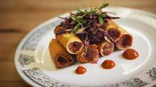The corned beef lumpia dish is seen at Lamesa restaurant in Toronto (Jennifer Roberts for The Globe and Mail)