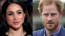 Combination photo of US actress Meghan Markle and Britain's Prince Harry.
