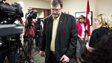 Edmonton MP Brent Rathgeber leaves a press conference after speaking about his decision to quit the federal Conservative caucus in St. Albert, Alberta on Thursday June 6, 2013. Rathgeber says there is a lack of commitment to transparency in the government. (JASON FRANSON/THE CANADIAN PRESS)