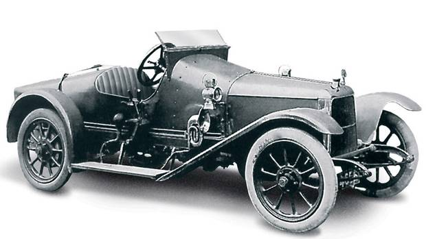 """1914 Coal Scuttle, made by dropping a 1.4-litre, Coventry-Simplex, four-cylinder engine into a 1908 Isotta Fraschini voiturette chassis. It was this car, dubbed the """"Coal Scuttle,"""" that became the first """"Aston-Martin."""" (Aston Martin)"""