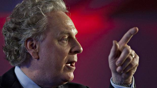 Quebec Premier Jean Charest speaks to delegates at the end of a Quebec Liberal Party meeting Sunday, May 6, 2012 in Victoriaville, Que.