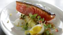 Keith Froggett's gravlax and asparagus with creamy lemon vinaigrette (Kevin Van Paassen/The Globe and Mail)