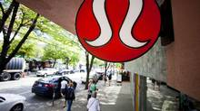 Yogawear retailer Lululemon Athletica Inc's logo is pictured at its store in downtown Vancouver June 11, 2014. (BEN NELMS/REUTERS)