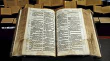 The Fisher KJV Bible, photographed on display at the Thomas Fisher Rare Book Library in Toronto on Jan. 24, 2011. (Peter Power/The Globe and Mail/Peter Power/The Globe and Mail)