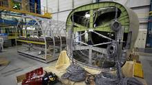 The tail end of a C Series aircraft in a Bombardier plant in Montreal (Christinne Muschi For The Globe and Mail)