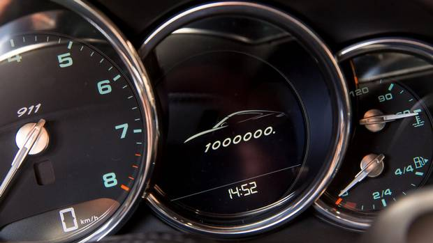 The cars gauges are marked to recognize the milestone.