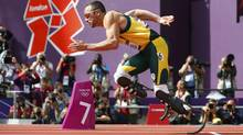 South Africa'sOscarPistorius competes during Round 1 of the men's 400m heats at the London 2012 Olympic Games at the Olympic Stadium on Saturday. (Kai Pfaffenbach/Reuters)