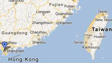 Shenzhen. Guangdong province and surrounding area (Google Map Screen Capture)