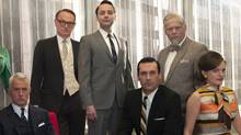 From left: Roger Sterling (John Slattery), Lane Pryce (Jared Harris), Pete Campbell (Vincent Kartheiser), Don Draper (Jon Hamm), Bertram Cooper (Robert Morse) and Peggy Olson (Elisabeth Moss). (Frank Ockenfels/AMC/Frank Ockenfels/AMC)