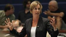 Karen Stintz took aim at Tory leader Tim Hudak for cherry-picking the most profitable part of Toronto's transit system and for offering no plan for paying for his subway expansion plans. (Peter Power/The Globe and Mail)