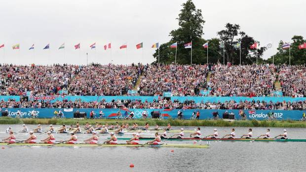 Teams from, front to rear, Canada, Germany, U.S., Great Britain and Netherlands compete in the final of the men's rowing eight in Eton Dorney, near Windsor, England, at the 2012 Summer OlympicS on Wednesday, Aug. 1, 2012. Germany won the gold medal, Canada the silver medal and Great Britain the bronze medal. (Armando Franca/AP)