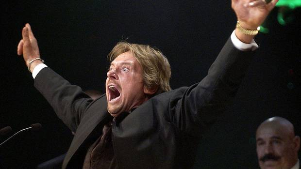 Late wrestler Rowdy Roddy Piper being inducted into the WWE Hall of Fame in 2005.