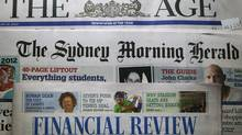 Mastheads of The Age, The Sydney Morning Herald and the Australian Financial Review, all Fairfax Media publications, are pictured in this photo-illustration in Sydney June 18, 2012. (DANIEL MUNOZ/REUTERS)