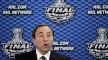 NHL Commissioner Gary Bettman speaks during a news conference before Game 1 of the NHL hockey Stanley Cup finals between the Los Angeles Kings and the New Jersey Devils on Wednesday, May 30, 2012, in Newark. (Kathy Willens/AP)