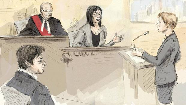 Witness Lucy DeCoutere, second from right, is questioned by Crown attorney Corie Langdon, right, as Jian Ghomeshi and Justice William Horkins listen in court on Feb. 4, 2016.