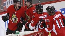 Ottawa Senators' Kyle Turris (L) celebrates his game winning goal with Erik Karlsson, Cory Conacher, and captain Daniel Alfredsson during the overtime period of their NHL Eastern Conference quarterfinal hockey game against the Montreal Canadiens in Ottawa May 7, 2013. (BLAIR GABLE/REUTERS)