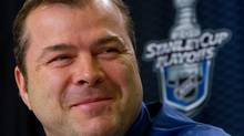 Vancouver Canucks' head coach Alain Vigneault smiles during a news conference after an optional team practice in Vancouver, B.C., on Monday May 23, 2011. The Canucks and San Jose Sharks play game 5 of the NHL's Western Conference final Stanley Cup playoff hockey series Tuesday. THE CANADIAN PRESS/Darryl Dyck (DARRYL DYCK)