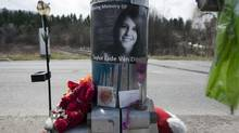A memorial of photographs, flowers, stuffed animals and candles at the railway crossing on April 5, 2012, in Armstrong, B.C. This where the body of Taylor Van Diest, 18, was discovered on Halloween in 2011. (Jeff Bassett for The Globe and Mail)