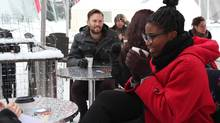 Café Bicyclette, the Edmonton restaurant at La Cité Francophone, keeps its patio open all year long and provides Lava Seats, heated in the microwave, that stay warm for up to six hours. (Hélène Lequitte/Le Franco)