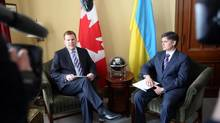 Canadian Foreign Affairs Minister John Baird (left) meets with Vadym Prystaiko, Ukrainian Ambassador to Canada, on Parliament Hill in Ottawa, Tuesday, March 4 2014. Mr. Prystaiko told the Globe on Friday Ukraine is seeking more support from Canada, including Western armaments. (FRED CHARTRAND/THE CANADIAN PRESS)