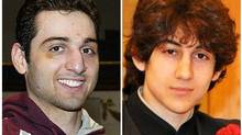 This combination of undated file photos shows Tamerlan Tsarnaev, 26, left, and Dzhokhar Tsarnaev, 19. The FBI says the two brothers are the suspects in the Boston Marathon bombing, and are also responsible for killing an MIT police officer, critically injuring a transit officer in a firefight and throwing explosive devices at police during a getaway attempt in a long night of violence that left Tamerlan dead and Dzhokhar captured, late Friday, April 19, 2013. (AP)