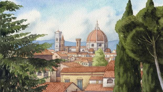 Florentine illustrator, Giovanni Manna's depiction of the Florence skyline as seen from the Giardino delle Rose.