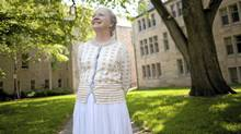 Professor Ann Dooley, 68, is seen here at St. Michael's College after a week of returning to work. Many at the University of Toronto campus are welcoming back Prof. Dooley, who had a stroke at Easter. (Tim Fraser for The Globe and Mail/Tim Fraser for The Globe and Mail)