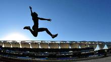 GUADALAJARA, MEXICO - OCTOBER 26: Tori Polk of the United States competes in the women's long jump final during Day 12 of the XVI Pan American Games at Telmex Stadium on October 26, 2011 in Guadalajara, Mexico. (Photo by Dennis Grombkowski/Getty Images) (Dennis Grombkowski/Getty Images/Dennis Grombkowski/Getty Images)