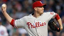 Philadelphia Phillies starting pitcher Roy Halladay throws against the Chicago Cubs in the first inning during their National League baseball game in Chicago, Illinois, May 17, 2012. (Jeff Haynes/Reuters/Jeff Haynes/Reuters)