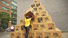 IKEA-branded boxes were printed with useful moving tips and distributed city-wide in massive pyramids and affixed to hoarding. (SUPPLIED)