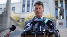 Vancouver Mayor Gregor Robertson pauses while speaking about the proposed tax on vacant homes, during a news conference outside City Hall in Vancouver, B.C., on Wednesday September 14, 2016. (DARRYL DYCK For The Globe and Mail)