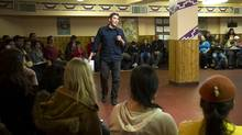"Hayden King, who is Pottawatomi and Ojibwe from Beausoleil First Nation on Gchimnissing in Huronia, Ont. and speaks as more than 100 people take part in an educational meeting called a ""teach-in"" is held at the Toronto Council Fire Native Cultural Centre in Toronto, Ont. Tuesday, Jan. 8, 2013. The meeting focused on the Indian Act, the White Paper and Prime Minister Harper's policy relating to Aboriginal rights. (Kevin Van Paassen/The Globe and Mail)"