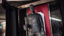 A statue of Gordie Howe is unveiled at the Hockey Hall of Fame in Toronto on Friday, March 10, 2017. (Aaron Vincent Elkaim/The Canadian Press)
