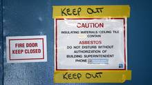 A warning sign noting the presence of asbestos in Victoria, Oct. 3, 2007. (Deddeda Stemler for The Globe and Mail/Deddeda Stemler for The Globe and Mail)
