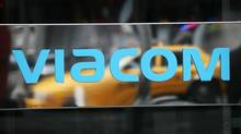 A Viacom sign at the company's headquarters in New York. The company said Thursday that fiscal fourth-quarter net income rose 12 per cent to $643-million (U.S.) even though revenue fell 17 per cent. (MARK LENNIHAN/AP)
